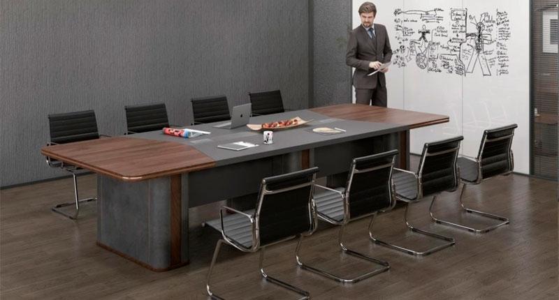 Стол переговоров на 12-14 персон, из ЛДСП класса Е1, меламиновое покрытие, цвет COFFEE OAK. Производство Китай. Размер: 4000W*1380D*760H