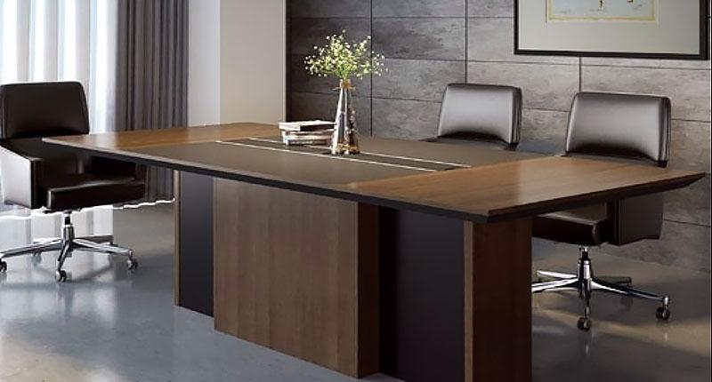 Стол переговоров на 8-10 персон из ЛДСП класса Е1, меламиновое покрытие, цвет COFFEE OAK. Размер 2400W*1100D*750H