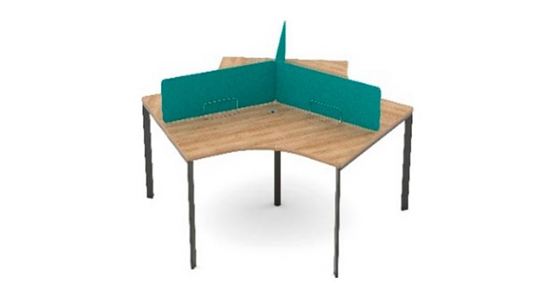 Стол операционистов на 3 персоны, из ЛДСП, меламиновая доска. Размер 2325W*2020D*750H