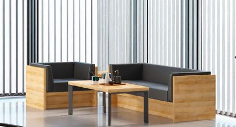 Комплект мягкой мебели, обивка сиденья эко-кожа, высокого качества, панели облицовка панелей из ЛДСП меламин. размер 886W*650D*610H - 2 шт. Диван 76SKH052-3 3х-местный, размер 1836W*650D*610H
