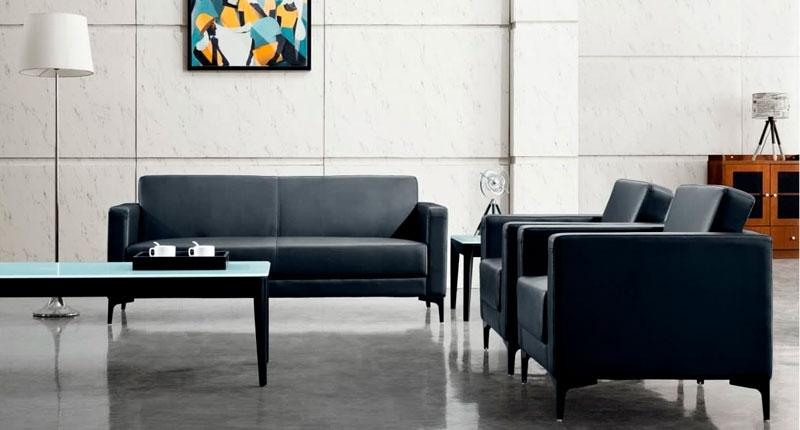 Комплект мягкой мебели DA1098 (черного цвета), диван и два кресла