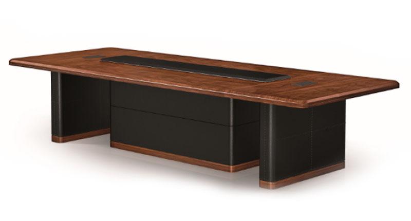 Конференц стол из МДФ, класса Е1, с натуральным шпоном ореха 0,6 мм, 8 слоев открытого лака холм, цвет орех. Размер: 4200W*1600D*750H