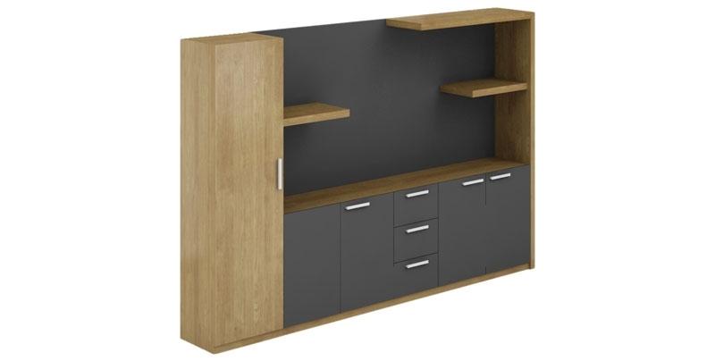 Офисный шкаф из ЛДСП, меламиновая доска, цвета светлый орех. Открытые полки, отсеки для файлов и гардероба