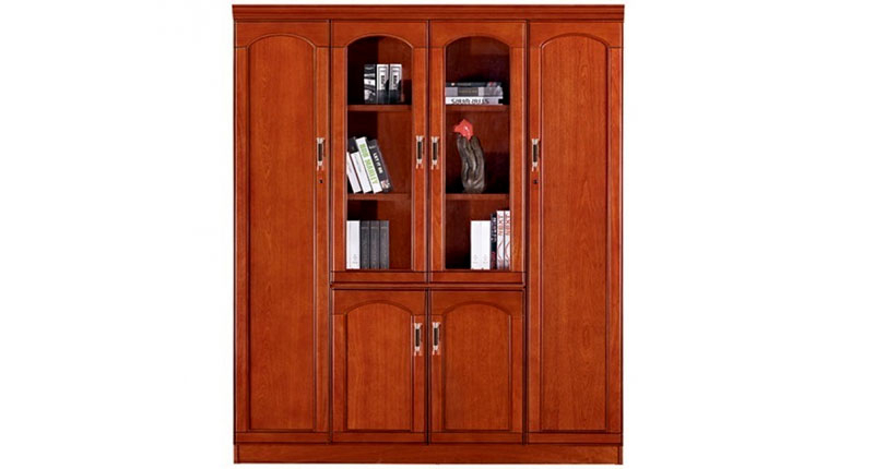 Шкаф офисный 4-х створчатый из МДФ, облицован шпоном, цвета темный орех. Отсеки для файлов.и гардероба. Размер: 1660W*400D*2000H