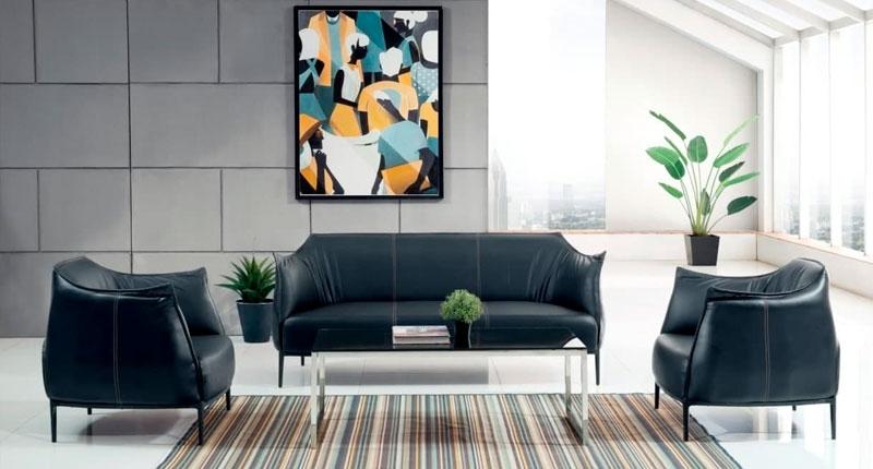 Комплект мягкой мебели JF020 (черного цвета). Обивка PU/эко-кожа.