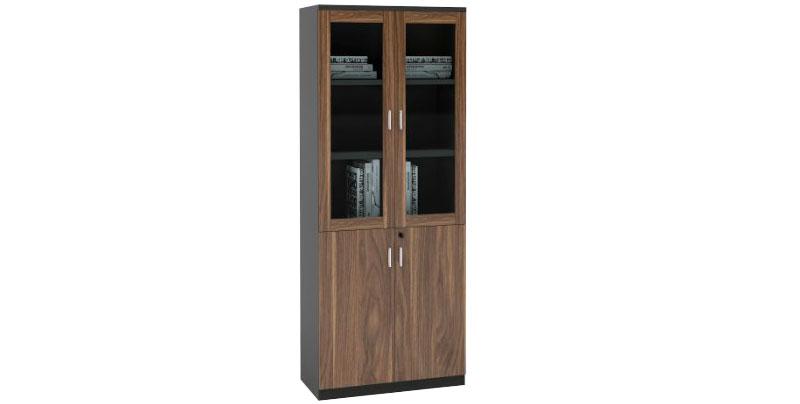 Шкаф офисный из ЛДСП, меламиновая доска, цвет - орех. Шкаф двух створчатый с отсеками для хранения документов. Нижний отсек оснащен замком. Размер: 800W*400D*2000H
