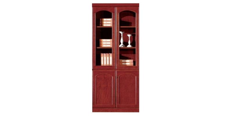 Шкаф офисный 2-х створчатый из МДФ, облицован шпоном, цвета темный орех. Отсеки для файлов. Размер: 910W*395D*2100H
