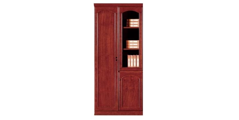 Шкаф офисный 2-х створчатый из МДФ, облицован шпоном, цвета темный орех. Отсеки для файлов и гардероб. Размер: 910W*395D*2100H