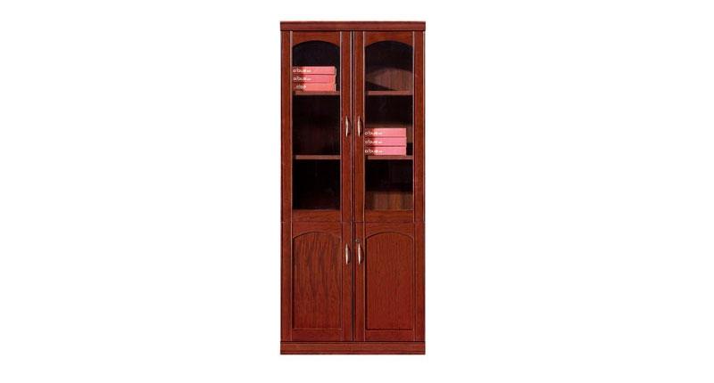 Шкаф офисный 2-х створчатый из МДФ, облицован натуральным шпоном ценной породы дерева, цвета темный орех. Отсеки для файлов. Размер: 910W*395D*2100H