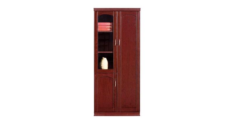 Шкаф офисный 2-х створчатый из МДФ, облицован шпоном, цвета темный орех. Отсеки для файлов, гардероб. Размер: 910W*395D*2100H