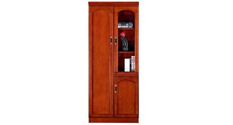 Шкаф офисный 2-х створчатый из МДФ, облицован шпоном, цвета темный орех. Отсеки для файлов и гардероб. Размер: 830W*400D*2000H.