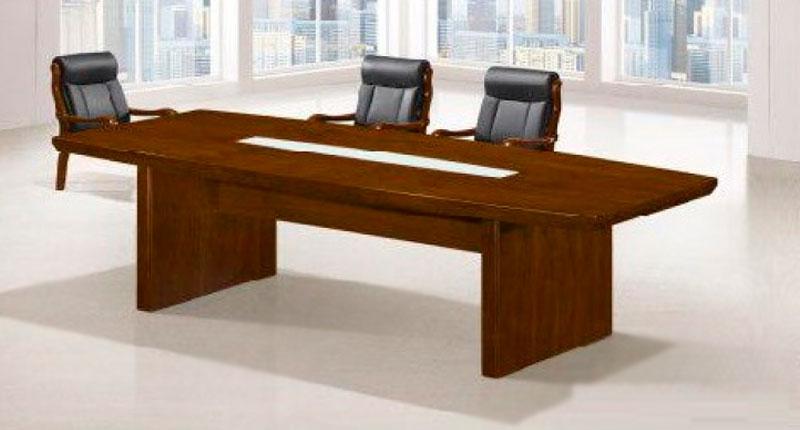 Конференц стол МДФ шпон. Современный дизайн, с натуральным шпоном ореха, зона в центре столешницы декорирована стеклом. Размер: 2400D*1200W*760H