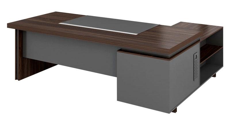 Офисный стол из ЛДСП, цвета темный орех, меламиновая доска. В комплекте встроенная тумба. Размер стола: 2000W*1800*D750H