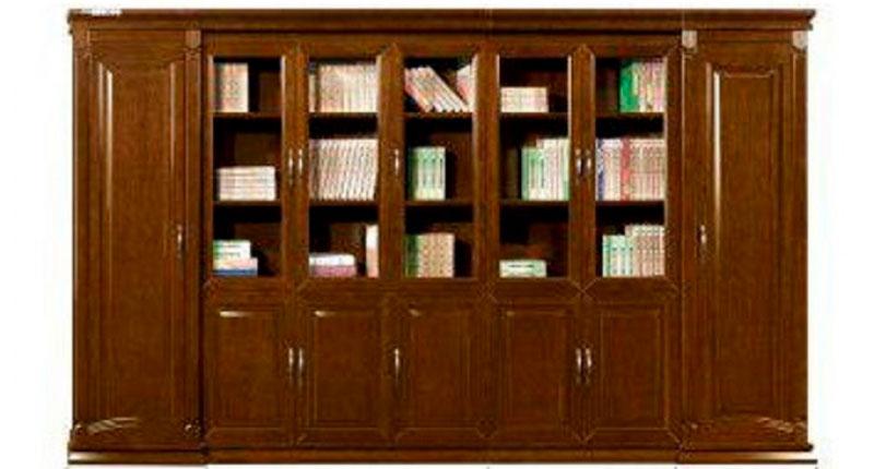 Шкаф семистворчатый из МДФ облицовка шпон. Размер:3860W*500D*2200H. Вместительные отсеки для гардероба и файлов